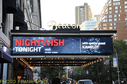 NIGHTWISH AND KAMELOT  MARQUE SIGN  SEPT 15 2012 PHOTO FRANK WHITE  BEACON THEATRE NEW YORK CITY
