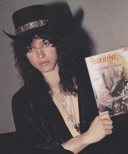 Tom Keifer in 1989 with a copy of Powerline Magazine.